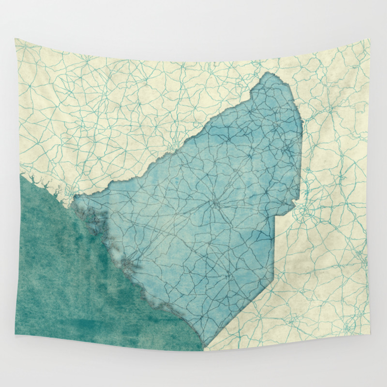 South Carolina State Map Blue Vintage Wall Tapestry
