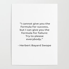 I cannot give you the formula for success Poster