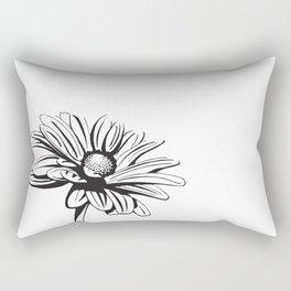 Gerbera Daisy Black & White Print Rectangular Pillow