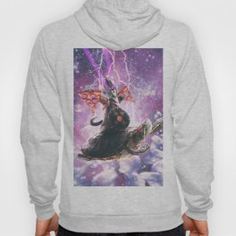 Lazer Warrior Space Cat Riding Turtle With Pizza Hoody