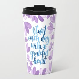 Gratitude Quote in watercolors Travel Mug