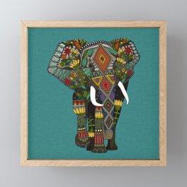 floral elephant teal Framed Mini Art Print