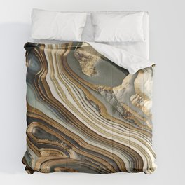 White Gold Agate Abstract Comforters