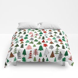 Christmas tree forest minimal scandi patterned holiday forest winter Comforters