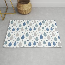 Blue, Grey and White Raindrops Watercolour Pattern Rug