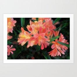 Orange flowers on black Art Print