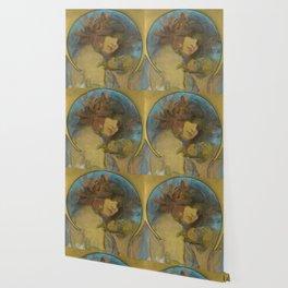 "Alphonse Mucha ""Study for a poster - Fruit"" Wallpaper"