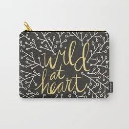 Wild at Heart – White and Gold on Black Carry-All Pouch
