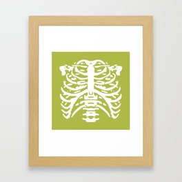 Human Rib Cage Pattern Chartreuse Green 2 Framed Art Print