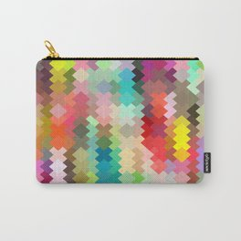 geometric square pixel pattern abstract in red blue green yellow Carry-All Pouch