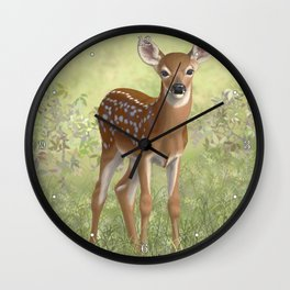 Cute Whitetail Deer Fawn Wall Clock