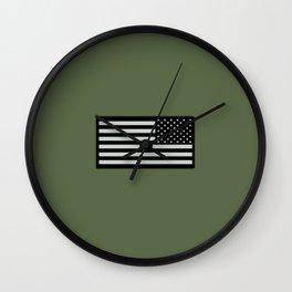 IR U.S. Flag on Military Green Background Wall Clock