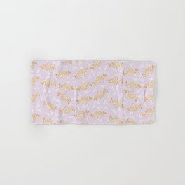 Gold & pearl watercolor flowers on lilac seamless pattern_2 Hand & Bath Towel