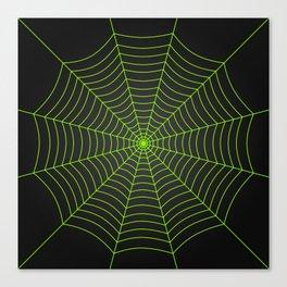 Neon green spider web Canvas Print