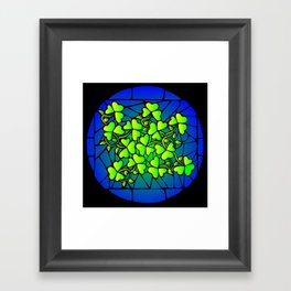 Stained Glass Shamrocks Framed Art Print