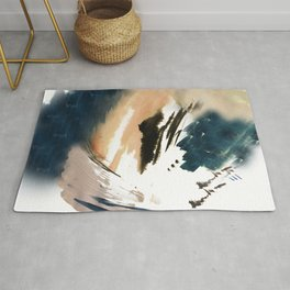 Twilight Wandering - a watercolor and ink abstract  Rug