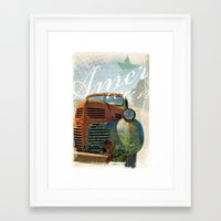 american Framed Art Prints featuring American by m1 design group