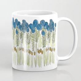 Tall skinny blue flowers with cattails Coffee Mug