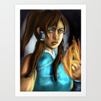the legend of korra Art Prints featuring korra by Rowena White