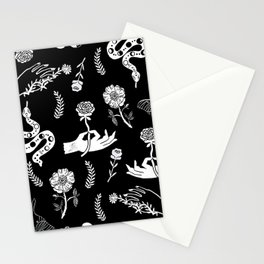 Linocut snakes hand rose floral black and white spooky gothic pattern Stationery Cards