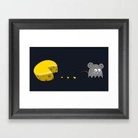 Retro Video Game Humor Cheese Man Framed Art Print