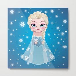 Kokeshi Elsa smiling Metal Print