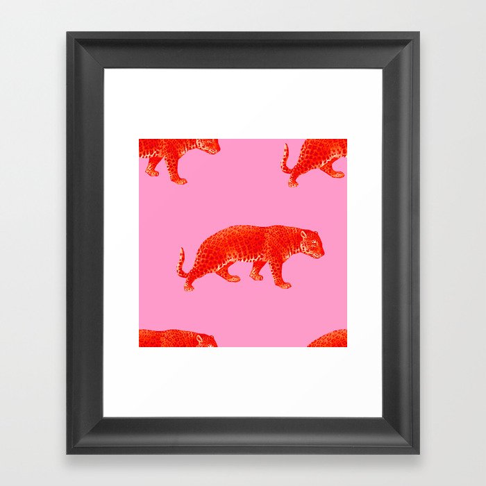 Vintage Cheetahs in Coral + Red Gerahmter Kunstdruck
