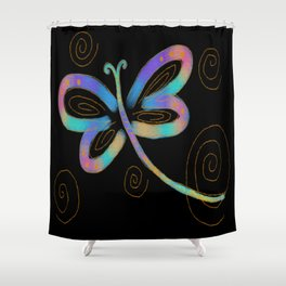 Funky Abstract Dragonfy Digital Painting Shower Curtain