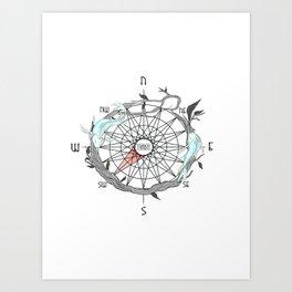 Koi Compass Art Print
