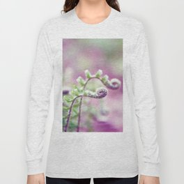 Ferns in Green, Purple, and Pink Long Sleeve T-shirt