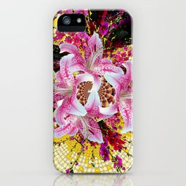 ABSTRACTED FUCHSIA-PINK LILY & HOLLYHOCKS GARDEN iPhone Case