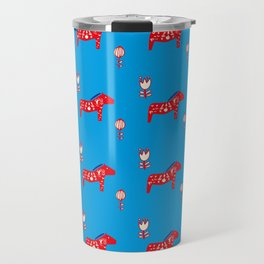 Dala Horse blue Travel Mug