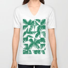Palm Leaf Pattern Green Unisex V-Neck