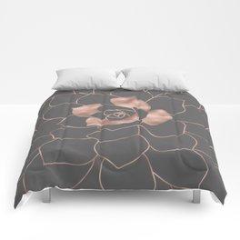 Rosegold  blossom on grey - Pink metal - effect flower Comforters