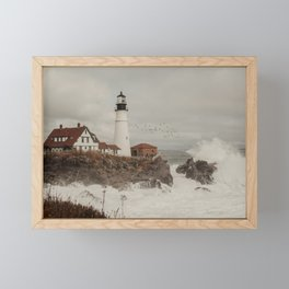 The Portland Head Lighthouse Storm Framed Mini Art Print