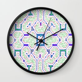 The Song to Support Spiritual Growth - Traditional Shipibo Art - Indigenous Ayahuasca Patterns Wall Clock