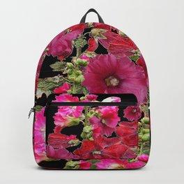 WESTERN  PINK HOLLYHOCKS PATTERNED ART Backpack