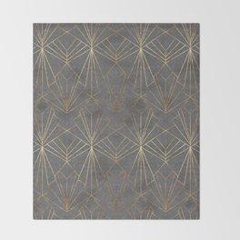 Art Deco in Gold & Grey Throw Blanket