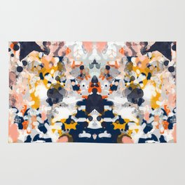 Stella - Abstract painting in modern fresh colors navy, orange, pink, cream, white, and gold Rug