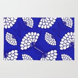 African Floral Motif on Royal Blue Rug