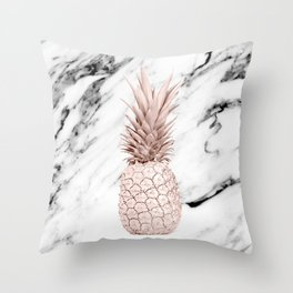 Pineapple Rose Gold Marble Throw Pillow