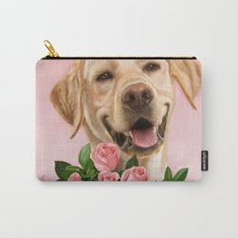 Happy Dog with Roses Carry-All Pouch