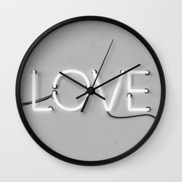 Love Neon Sign in Gray Wall Clock