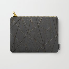 Golden Wireframe Triangles Carry-All Pouch