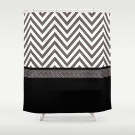 Modern Chevron Striped Pattern, Black, White, Grey Shower Curtain