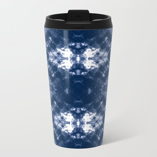 Shibori Tie Dye 1 Indigo Blue Metal Travel Mug