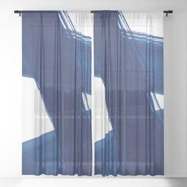 Indigo Abstract Brush Strokes | No. 4 Sheer Curtain