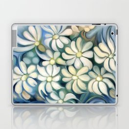 """Retro Vintage Bouquet of White and Blue Flowers"" Laptop & iPad Skin"