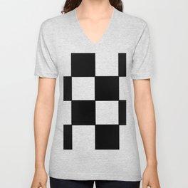 Checkered,black and white checked pattern.Gingham. Unisex V-Neck