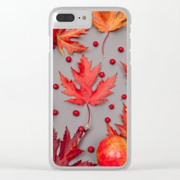 Autumn background with pomegranates and red leaves Clear iPhone Case